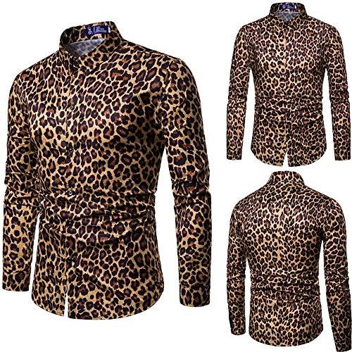 Hombre camisa casual invierno otoño,Sonnena camisa para guapo hombre manga larga delgado Estampado de leopardo color liso moda fiesta deportivos al aire libre
