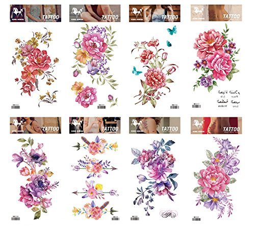 Grashine Tattoo 8pcs mischt Blume lange letzte und realistische Temp Tattoo Aufkleber in 1 Pakete, einschließlich bunten rosa, rot, lila Blumen Tattoo Aufkleber
