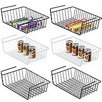 Under Shelf Basket, Veckle 6 Pack Under Shelf Wire Baskets Undershelf Storage Hanging Baskets Add-on Under Shelves Storage for Kitchen Bookshelf Pantry Slide-in Baskets Organizer Black