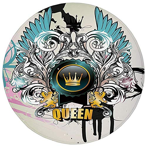 ARTOPB Round Rug Mat Carpet,Queen,Artistic Design Arms Shield with Crown Wings and Victorian Floral Elements Imperial,Multicolor,Flannel Microfiber Non-Slip Soft Absorbent,for Kitchen Floor Bathroom