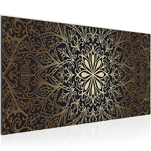 Photo Mandala Résumé Décoration Murale 100 x 40 cm Toison - Toile Taille XXL Salon Appartement Décoration Photos d'art Marron 1 parties - 100% MADE IN GERMANY - prêt à accrocher 107412a