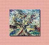 Pinturas al óleo de Arte Moderno Arte de Lienzo de Pared Pintura al óleo sobre lienzo de pared Decoración del hogar ilustraciones abstractas pintadas a mano - ULIVO E CIELO 80X70CM