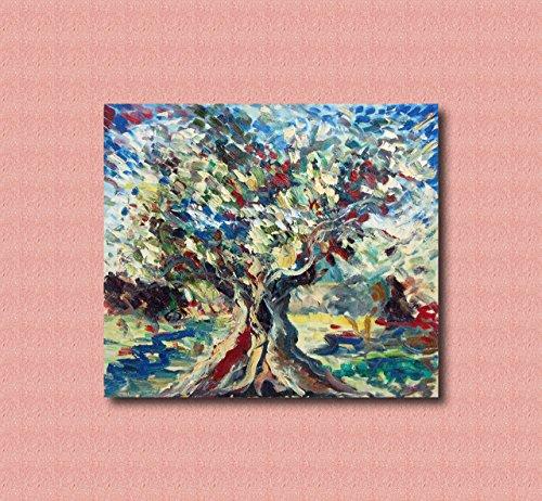 Zeitgenössische und zeitgenössische dekorative Leinwandrahmen, Wohnzimmer, abstrakte und originelle Gemälde wie die Impressionisten, handgemacht mit Öl auf Leinwand Puliafico - ULIVO E CIELO 80X70CM