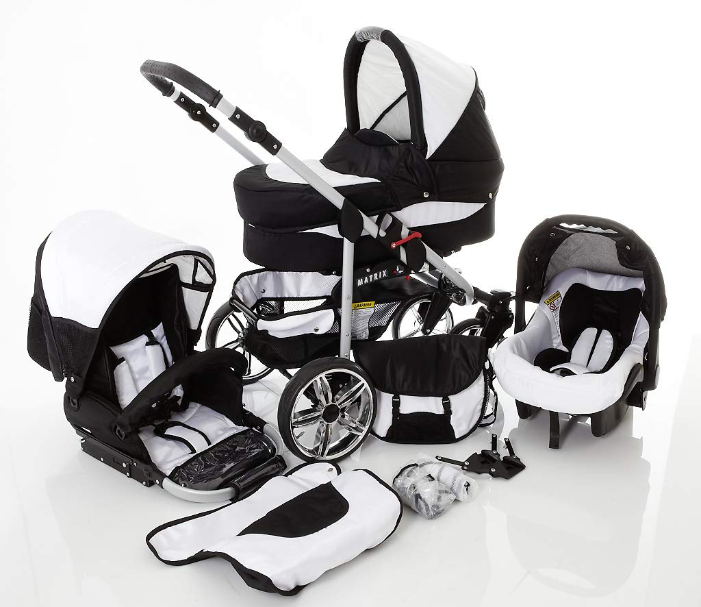 Travel System Stroller Pram Pushchair 2in1 3in1 Set Isofix X-Car by SaintBaby Black & Check 3in1 with Baby seat SaintBaby 3in1 or 2in1 Selectable. At 3in1 you will also receive the car seat (baby seat). Of course you get the baby tub (classic pram) as well as the buggy attachment (sports seat) no matter if 2in1 or 3in1. The car naturally complies with the EU safety standard EN1888. During production and before shipment, each wagon is carefully inspected so that you can be sure you have one of the best wagons. Saintbaby stands for all-in-one carefree packages, so you will also receive a diaper bag in the same colour as the car as well as rain and insect protection free of charge. With all the colours of this pram you will find the pram of your dreams. 2