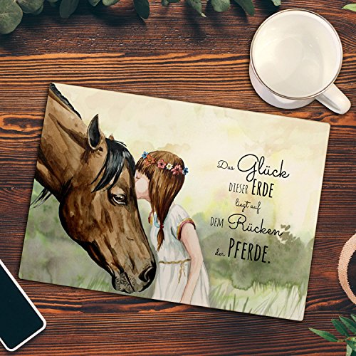 ilka parey wandtattoo-welt Frühstücksbrettchen Frühstücksbrett Schneidebrett Küchenbrettchen Mädchen & Pferd mit Spruch fb014