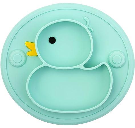 Assiette /à ventouse pour b/éb/é silicone set de table pour b/éb/é avec compartiments plaque dalimentation antid/érapante pour tout-petits Les enfants avec une forte aspiration solide et /épaisse
