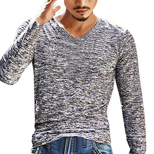 T-shirt, feixiang uomo solido scollo a v manica lunga t shirt top slim camicetta (grigio, xl)