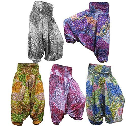 PANASIAM Aladin Pants V-Design, SONDERANGEBOT, kleine Auflage, super Qualität, weicher Naturstoff, farbecht, passt 34 bis 42 (S - L) Lilaton