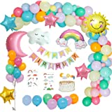 MMTX Decoraciones Fiesta Cumpleaños Pastel, Feliz Cumpleaños Tema del Cielo con Pancarta de Happy Birthday, Dom Luna Nubes Ar