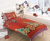 Renna di Natale per bambini presenta la trapunta copripiumino con le stelle e la federa per letto singolo, colore: rosso