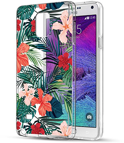 Note 4 Fall, Galaxy Note 4 Fall mit Blumen, baisrke Slim stoßfest Transparent Floral Muster Weiche Biegsame TPU Back Cove für Samsung Galaxy Note 4 View/N910 C, Palm Tree Leaves -