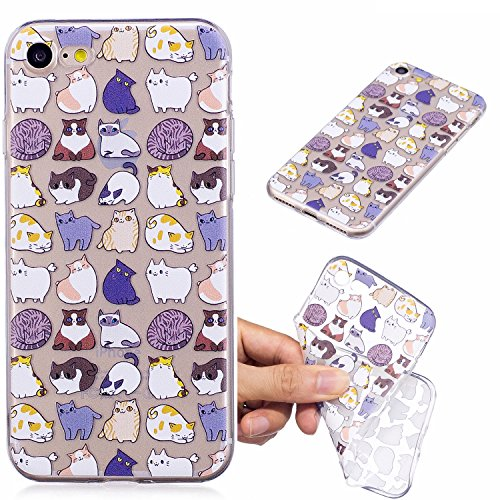 Custodia per iPhone 8 4.7,Silicone Cover per iPhone 7 4.7,Leeook Creativa Bello Verde Banana Foglia Painted Design Ultra Sottile Morbida Transparent TPU Gel Cover Case Shock-Absorption Anti Scivolo  Gatto
