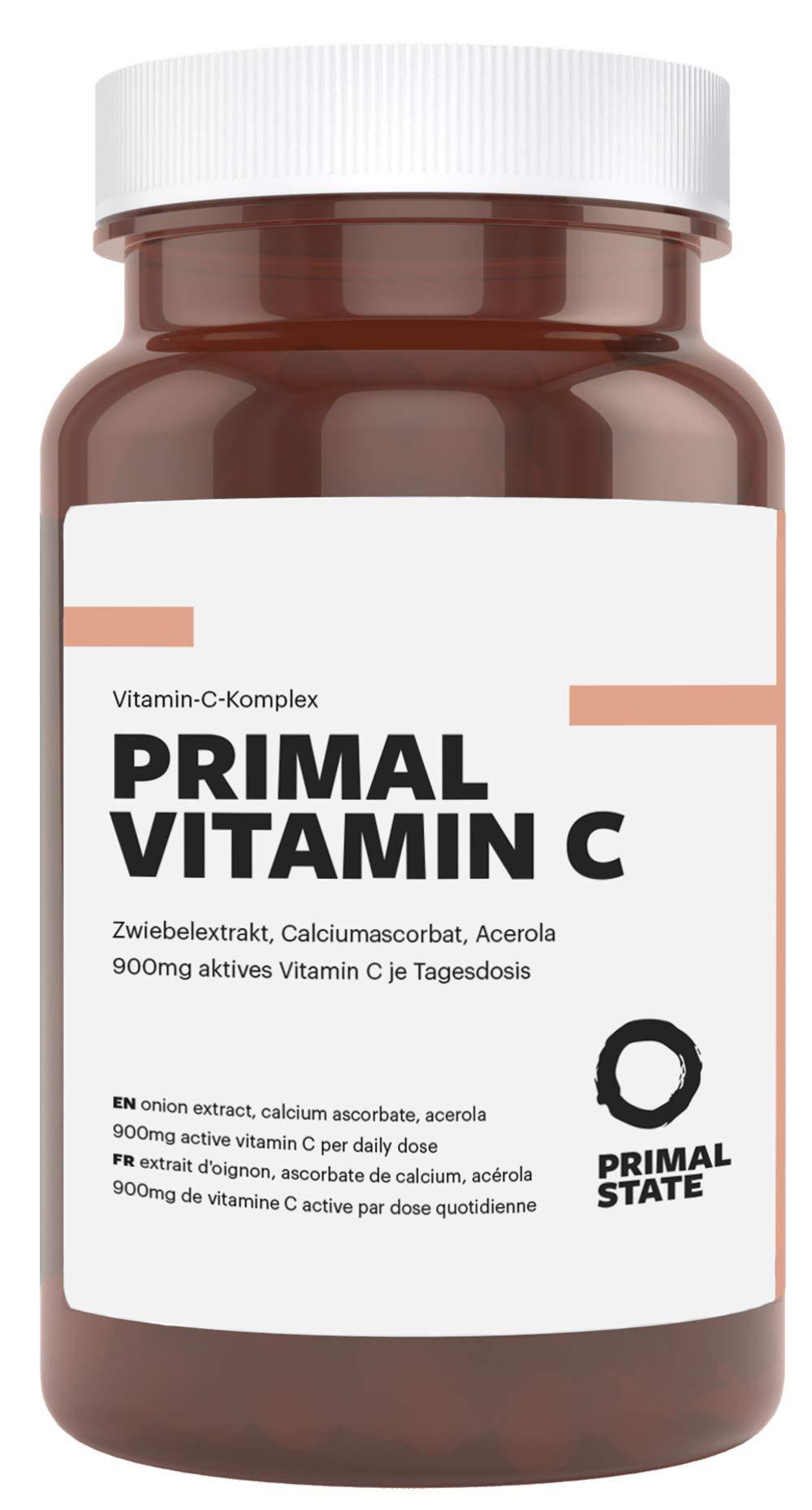 Vitamin C Hochdosiert | 900mg Aktives Vitamin C | Premium Calciumascorbat, Acerola Extrakt und Quercetin | Frei von Zusatzstoffen wie Magnesiumstearat oder Gelatine | Laborgeprüft – 90 Kapseln