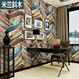 Selbstklebende Papiertapete Schlafzimmer warme Tapete wasserdicht einfache einfarbige Hintergrundwand Ingwer schräge Holz