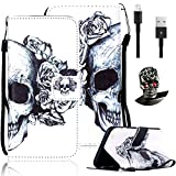 Search : For Galaxy Core Prime Wallet Case-Vandot Samsung Galaxy Core Prime SM-G360F Colorful Painted Black Cool Skull Flower New Fashion Pattern PU Leather Magnetic Flip Stand Protective Cover+Anti Dust Plug+USB Data Line