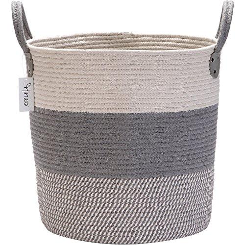Hinwo Cesta de almacenamiento de cuerda de algodón plegable, cesta para la colada, cesta de almacenamiento para guardería, contenedor con asas, 40 x 30 cm, color blanco y gris HWLH0001B