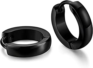 The Jewelbox Black and Silver 316L Surgical Stainless Steel Rhodium Huggie Hoop Bali Earrings for Boys