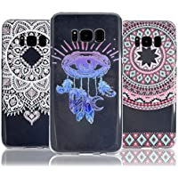 3 X Galaxy S8 Case, Galaxy S8 Cover, Vandot 3 Packs Colorful HD Printing Pattern Lightweight Slim Fit Soft Flexible TPU Crystal Clear Silicone Back Cover Rubber Bumper [Drop Protection / Shock-Absorption] Protective Case for Samsung Galaxy S8 G9500 - Totem Flower / Eyes Campanula / White Mandala Datura