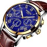 Herren Uhren Business Analog Quarz Uhren Männer Luxusmarke Klassisch Leder Casual Armbanduhr Mann wasserdicht Chronograph Blue Uhr