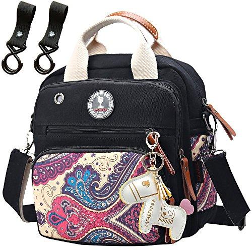 Preisvergleich Produktbild Mini Wickeltasche Schwarz Rucksack Babytasche Handtasche Messenger Bag Bote Windel Matte Organizer
