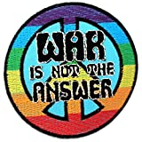 Parches - War Is Not the answer! Peace - colorful - Ø7,4cm - termoadhesivos bordados aplique para ropa