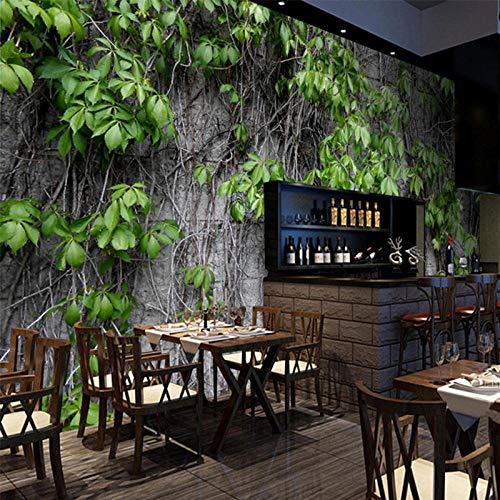 Restaurant Cafe Clubs Ktv Bar 3D Tapete Boston Ivy Natur Wandbild Moderne Pflanzenfaser Tapetenrolle Papel De Parede 3D Paisagem-E Ivy Vintage Tapete