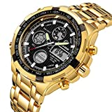 Luxury Fashion Mens Watches Gold Stainless Steel Heavy Sport Chronograph Waterproof Date Alarm Multifunction Analog Digital Watch