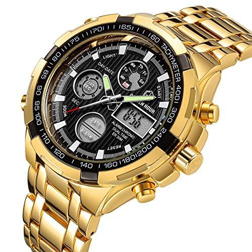 Luxus-Armbanduhr für Herren, schwerer Chronograph aus Edelstahl, goldfarben, wasserdicht, mit Datums- und Alarmfunktion, Analog-/Digitalanzeige