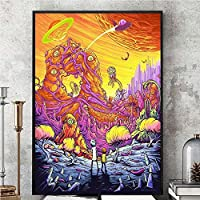 """Pintura de póster, Rick y Morty Temporada 3 Cartel de seda Cuadro en la pared Impresión de cartel Tela de seda Colorido Show televisivo regalo 16""""X24"""""""