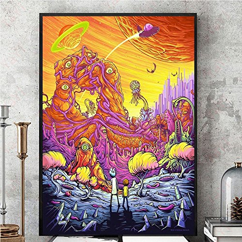 Wall Art Decor Poster Artworks, Rick y Morty Season 3 Silk Poster Wall Picture Painting Tela de Seda Colorida Home Art
