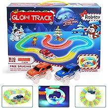 Glow Track Rolytoy Giocattolo Pista Flessibile 222 pezzi con 2 Macchine Circuiti Gioco Magia Pista Fluorescente ( 3.57 metri) Serie di Auto da Corsa Giocattolo Fluorescente Regalo per Bambini 3 4 5 6+