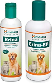 Himalaya Combo of Erina Coat Cleanser, 450 ml & Erina-EP Tick and Flea Control Shampoo, 200 ml