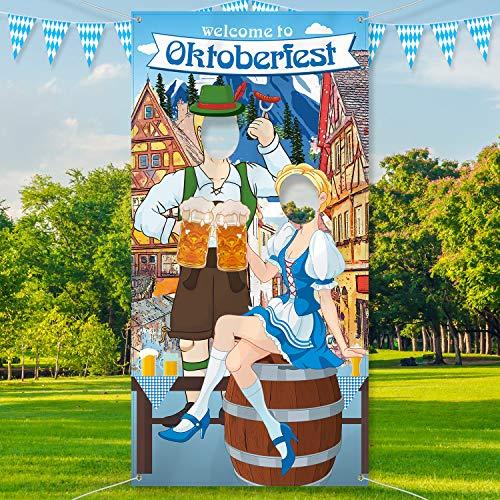 Blulu Oktoberfest Party Dekorationen Oktoberfest Foto Requisit, Riesiger Stoff Foto Stand Hintergrund, Lustige Oktoberfest Spiel Versorgungen für Bayerisches Bier Festival, 6 x 3 Fuß