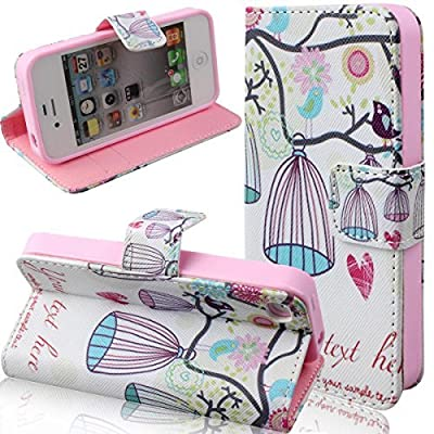 Case for iPhone 4s,Cover for iPhone 4s,Case for iPhone 4,Wallet Case for iPhone 4s,NSSTAR Butterfly Fairy and Flower Inlaid Shiny Glitter Diamond Pu Leather Flip Protective Case Cover with Stand for iPhone 4 4S from NSSTAR