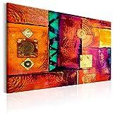 murando - Bilder Abstrakt 120x80 cm Vlies Leinwandbild 1 TLG Kunstdruck modern Wandbilder XXL Wanddekoration Design Wand Bild - Rose orange rot geometrisch f-A-0603-b-a