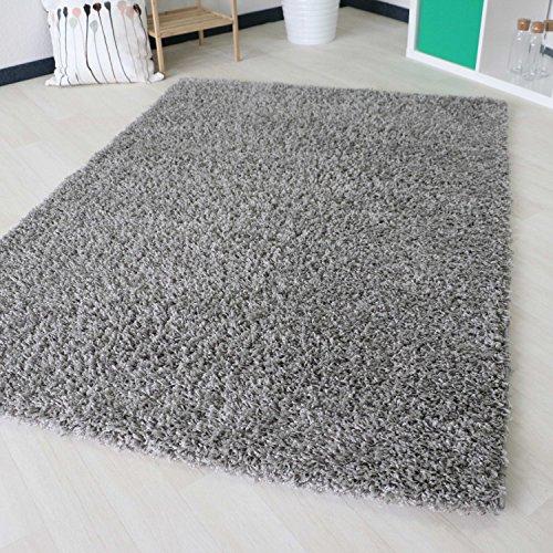 Shaggy Hochflor Langflor in versch. Größen und Farben, unifarbe einfarbig. Bunte Farben (160 x 230 cm, Grau)