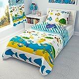 Parure de lit nautique pour enfant–housse de couette pour filles, garçons et taie d'oreiller pour lit de bébé/enfant–animaux marins, Coton, rose, 90x120 cm