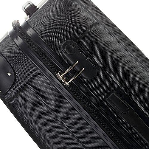 2045 Hartschale Koffer Trolley Reisekoffer einzelgröße XL-L-M in 10 Farben (L, Schwarz) - 6