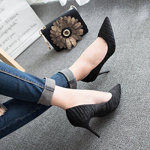 Zapatos De Tacón Alto Zapatos De Mujer Solos Con Satén Fino Grabado En Relieve Versión Coreana Profesional Negro