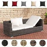 CLP Poly-Rattan Lounge-Sofa Solano 5 mm, ALU-Gestell, 3 er Sofa/Sonnenliege Rattanfarbe: Grau-Meliert, Kissenfarbe: Cremeweiß