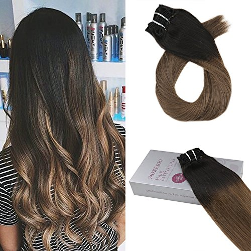 Moresoo 24 Zoll 120 Gramm 7 Pieces Natural Schwarz Fading to Light Braun Ombre Clip in Extensions Echthaar Haarverlängerung Full Head Set 100% Real Remy Haar