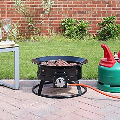 Wido Gas Fire Pit Basket Propane Patio Heater Flame Burner With Regulator Hose For Garden Camping Bbq by Wido