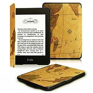 Fintie Etui Kindle Paperwhite - étui Flip en cuir super fin et léger, fermeture magnétique avec mise en veille automatique pour Amazon All-New Kindle Paperwhite (Convient à touts les versions: 2012, 2013 et 2015 New 300 PPI) - Map Brown