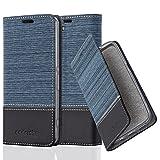 Cadorabo Hülle für Sony Xperia Z1 COMPACT - Hülle in DUNKEL BLAU SCHWARZ – Handyhülle mit Standfunktion und Kartenfach im Stoff Design - Case Cover Schutzhülle Etui Tasche Book
