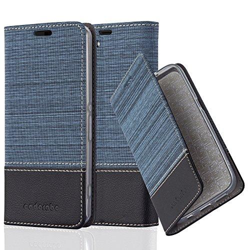 Moderna Funda Book Style de estilo Jeans con aplicación de cuero artificial para Sony Xperia Z1 COMPACT / MINI con Tarjetero, Función de Suporte y Cierre Magnético InvisibleFunda exclusiva y protectora para el Xpe