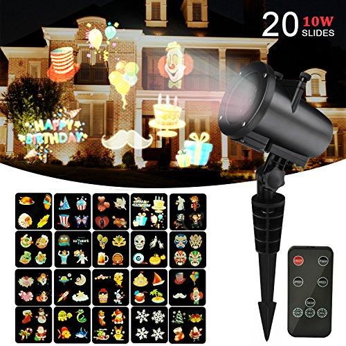 Weihnachten Projektor Beleuchtung 10W, LED Weihnacht Beleuchtung,Halloween Projektionslampe für Innen/ Außen Wasserdicht IP65 mit 20pcs Anders Farbig Film Umschaltbare Muster und RF - Hoch Halloween-filme