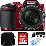 Nikon COOLPIX B500 16MP 40x Optical Zoom Digital Camera w/Built-in Wi-Fi 16GB Bundle Includes Camera, Bag, 16GB Memory Card, Reader, Wallet, Screen Protectors, Cleaning Kit and Beach Camera Cloth