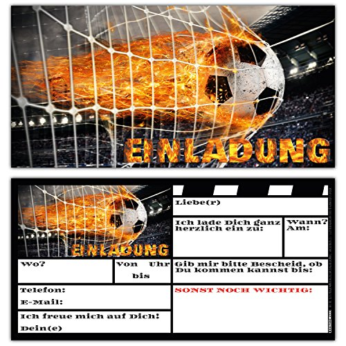 12 Fussball Einladungskarten im Karten-Set zum Kinder-Geburtstag oder Fußball-Party - Einladungen für Jungen Mädchen und Erwachsene von BREITENWERK®