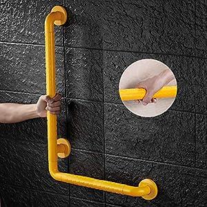 Handlauf Für Badezimmer, Gelber L-förmiger Wandschutzgriff Für Ältere Behinderte Behinderte Barriere Handlauf Toilette WC Dusche Anti-Rutsch Geländer Multi-Size