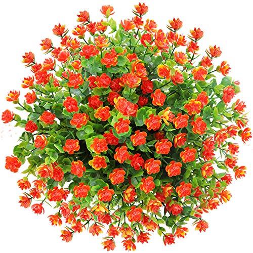 CQURE künstliche Blumen,Unechte Blumen Künstliche Grün UV-beständige Pflanzen Eukalyptus Outdoor Braut Hochzeitsblumenstrauß für Haus Garten Party Blumenschmuck 5 Stück (Orange Rot) -
